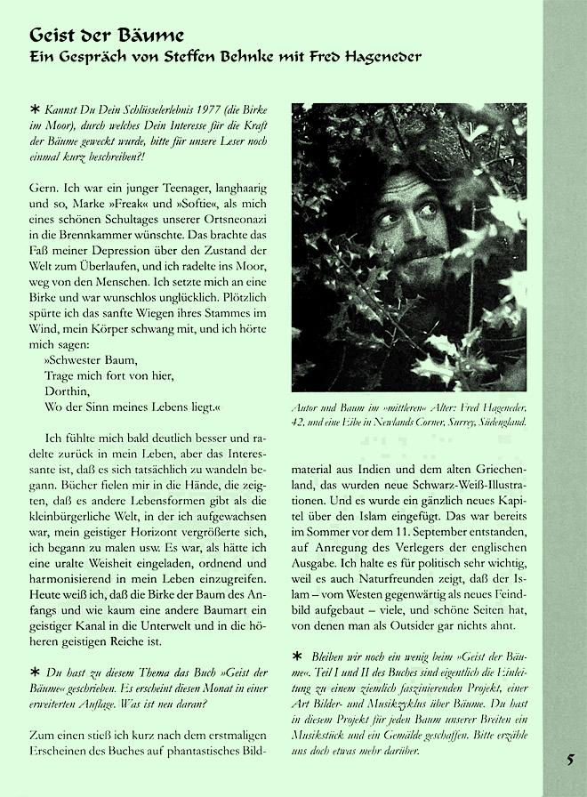 Hageneder-Interviewseite Scan 1 von 7