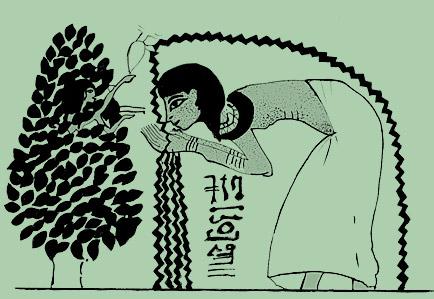 A deusa Hathor do Egito antigo na figueira de Sykomor