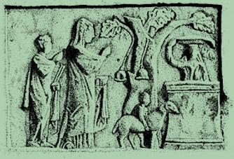Oferenda sacrifical na árvore sagrada, altar de Cybele