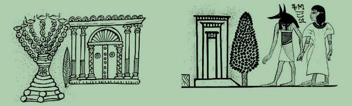 Ilustrações históricas de árvores como portões da alma
